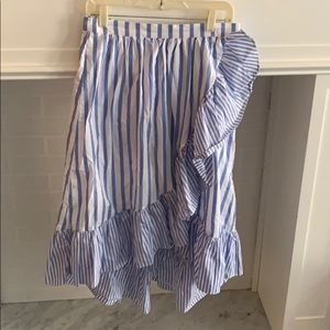 Who What Wear Blue & White Ruffle Skirt - Size M